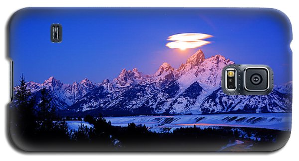 Moon Sets At The Snake River Overlook In The Tetons Galaxy S5 Case by Raymond Salani III