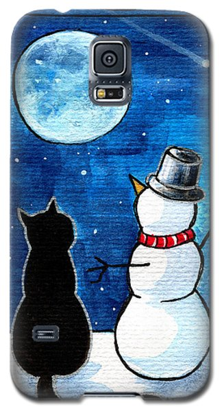 Moon Watching With Snowman - Christmas Cat Galaxy S5 Case