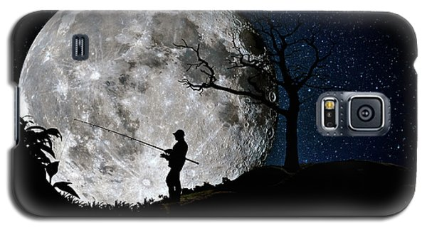 Moonlight Fishing Under The Supermoon At Night Galaxy S5 Case by Justin Kelefas