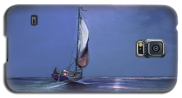 Galaxy S5 Case featuring the painting Moonlight Sailing by David  Van Hulst