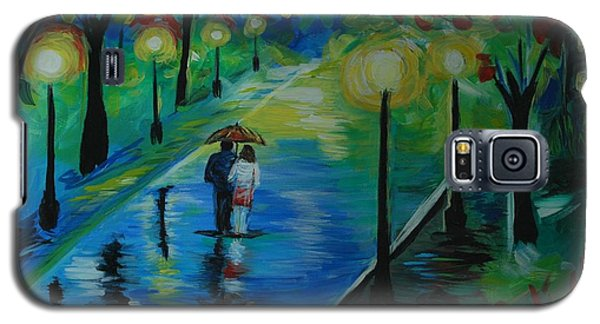 Galaxy S5 Case featuring the painting Moonlight Stroll by Leslie Allen