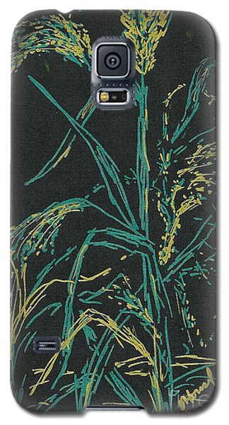 Galaxy S5 Case featuring the mixed media Moonlight Wheat by Vicki  Housel