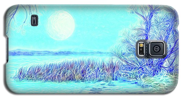 Galaxy S5 Case featuring the digital art Moonlit Lake In Blue - Boulder County Colorado by Joel Bruce Wallach
