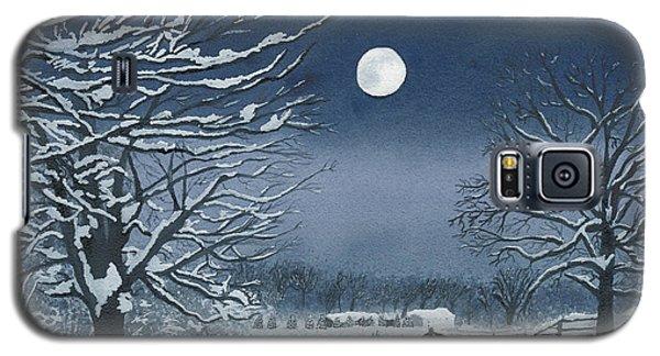 Moonlit Snowy Scene On The Farm Galaxy S5 Case