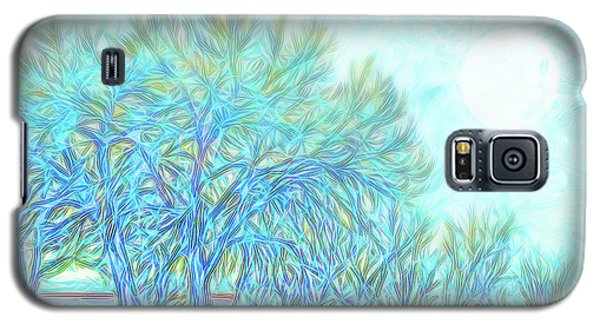Galaxy S5 Case featuring the digital art Moonlit Winter Trees In Blue - Boulder County Colorado by Joel Bruce Wallach