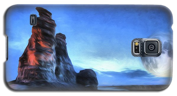 Galaxy S5 Case featuring the digital art Moonrise Over Castle Rock by JC Findley