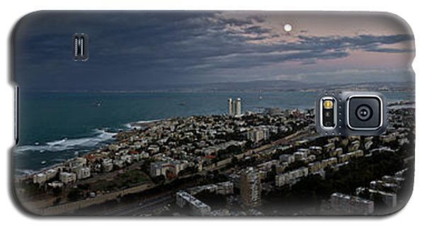 Galaxy S5 Case featuring the photograph Moonrise Over Haifa Bay by Nadya Ost