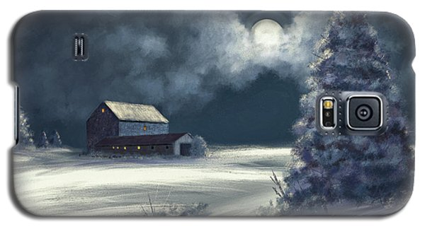 Galaxy S5 Case featuring the digital art Moonshine On The Snow by Lois Bryan