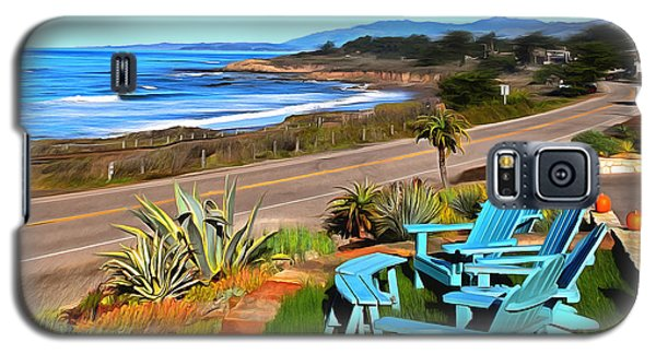 Galaxy S5 Case featuring the photograph Moonstone Beach Seat With A View Digital Painting by Barbara Snyder