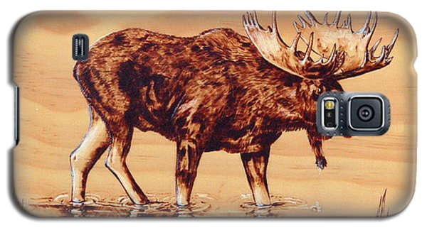 Galaxy S5 Case featuring the pyrography Moose Marsh by Ron Haist
