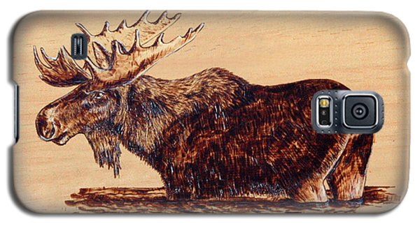 Galaxy S5 Case featuring the pyrography Moose by Ron Haist