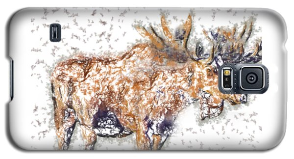 Galaxy S5 Case featuring the digital art Moose-sticks by Elaine Ossipov