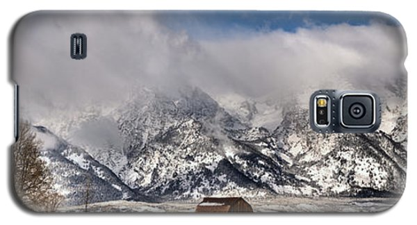 Galaxy S5 Case featuring the photograph Mormon Row Early Winter Panorama by Adam Jewell