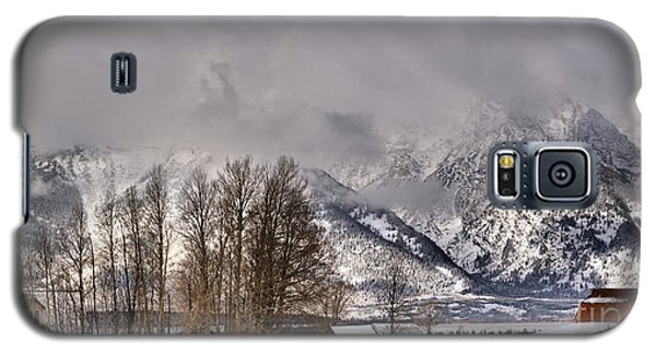 Galaxy S5 Case featuring the photograph Mormon Row Winter Morning Panorama by Adam Jewell