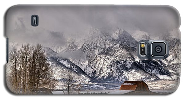 Galaxy S5 Case featuring the photograph Mormon Row Winter Panorama by Adam Jewell