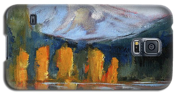 Galaxy S5 Case featuring the painting Morning Light Mountain Landscape Painting by Nancy Merkle
