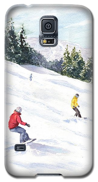 Galaxy S5 Case featuring the painting Morning On The Mountain by Vikki Bouffard