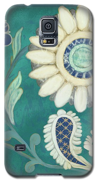 Galaxy S5 Case featuring the painting Moroccan Paisley Peacock Blue 2 by Audrey Jeanne Roberts