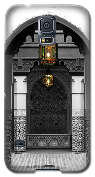 Galaxy S5 Case featuring the digital art Moroccan Style Doorway Lamps Courtyard And Fountain Color Splash Black And White by Shawn O'Brien