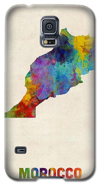 Galaxy S5 Case featuring the digital art Morocco Watercolor Map by Michael Tompsett