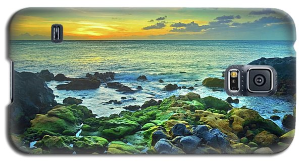 Galaxy S5 Case featuring the photograph Moss Covered Rocks At Sunset In Molokai by Tara Turner