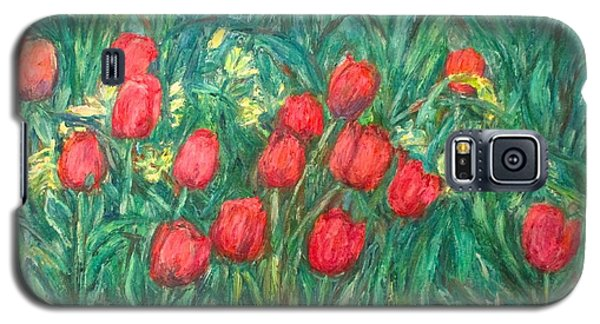 Galaxy S5 Case featuring the painting Mostly Tulips by Kendall Kessler