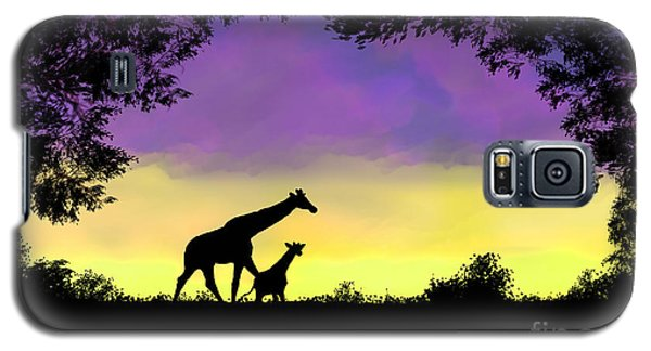Mother And Baby Giraffe At Sunset Galaxy S5 Case