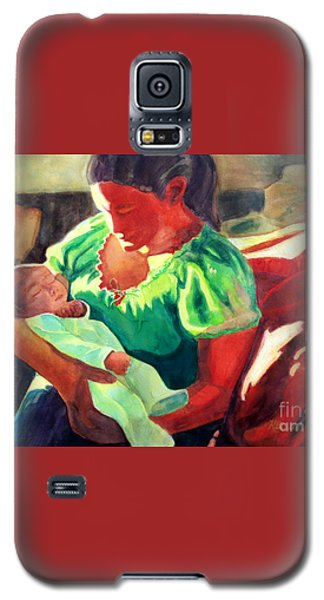 Galaxy S5 Case featuring the painting Mother And Child In Red2 by Kathy Braud