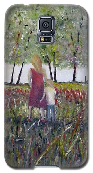 Galaxy S5 Case featuring the painting Mother And Son by Marilyn  McNish