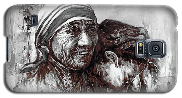 Galaxy S5 Case featuring the painting Mother Teresa Of Calcutta Portrait  by Gull G