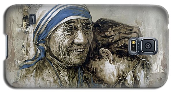 Galaxy S5 Case featuring the painting Mother Teresa Portrait  by Gull G
