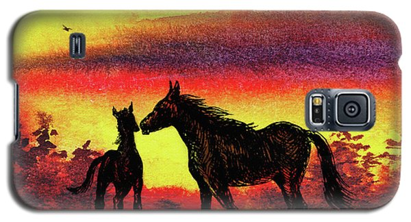 Galaxy S5 Case featuring the painting Mother's Love - Two Horses by Irina Sztukowski