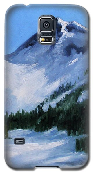 Galaxy S5 Case featuring the painting Mount Baker Glacier by Nancy Merkle