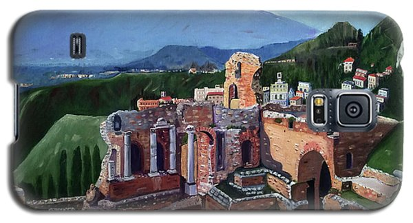 Mount Etna And Greek Theater In Taormina Sicily Galaxy S5 Case