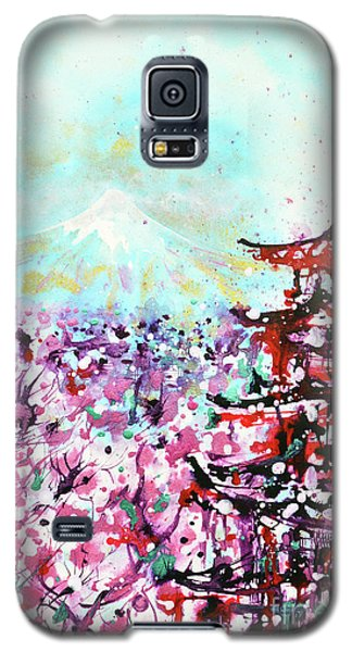 Galaxy S5 Case featuring the painting Mount Fuji And The Chureito Pagoda In Spring by Zaira Dzhaubaeva