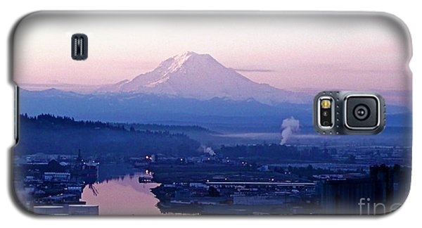 Galaxy S5 Case featuring the photograph Mount Rainier Dawn Above Port Of Tacoma by Sean Griffin