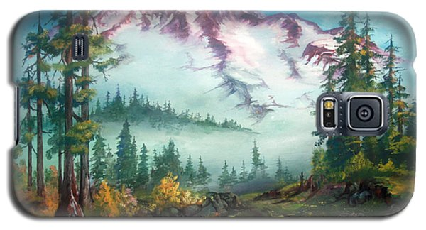 Galaxy S5 Case featuring the painting Mount Rainier by Sherry Shipley