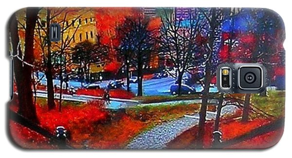 Galaxy S5 Case featuring the painting Mount Royal Peel's Exit by Marie-Line Vasseur