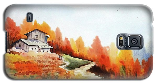 Galaxy S5 Case featuring the painting Mountain Autumn Forest by Samiran Sarkar