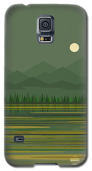 Galaxy S5 Case featuring the digital art Mountain Lake Moon by Val Arie