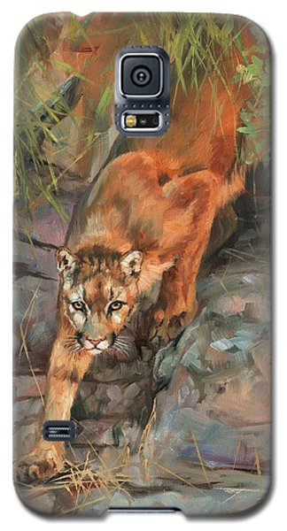 Galaxy S5 Case featuring the painting Mountain Lion 2 by David Stribbling