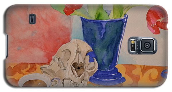 Galaxy S5 Case featuring the painting Mountain Lion Skull Tea And Tulips by Beverley Harper Tinsley