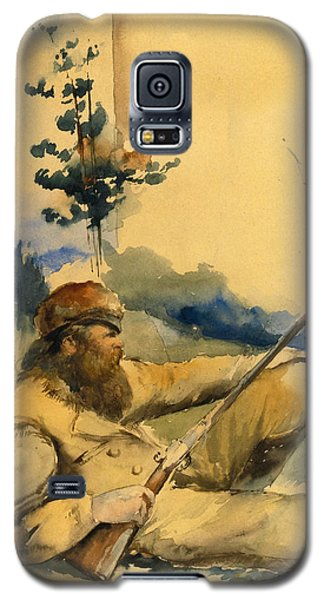 Galaxy S5 Case featuring the drawing Mountain Man by Charles Schreyvogel