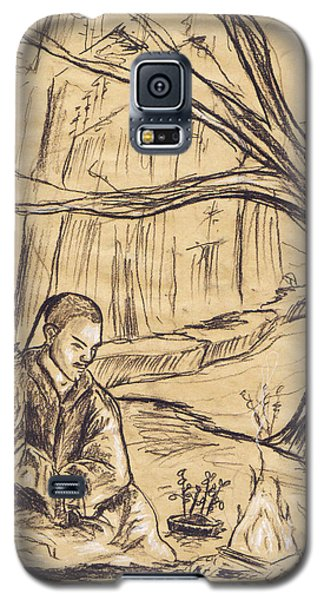 Galaxy S5 Case featuring the drawing Mountain Oasis by Shawna Rowe