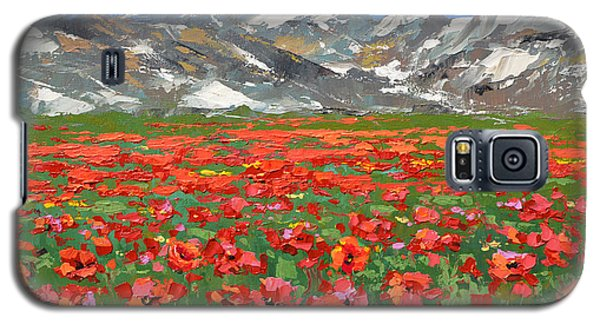 Galaxy S5 Case featuring the painting Mountain Poppies   by Dmitry Spiros