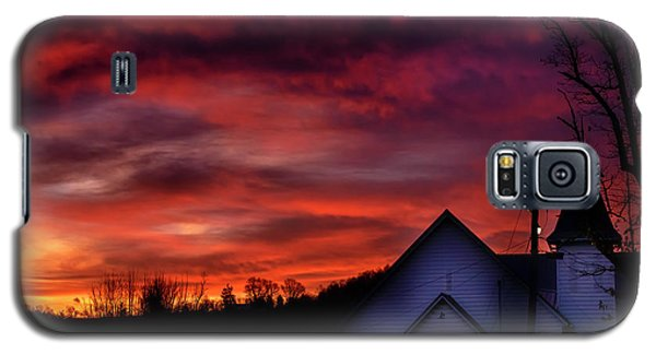 Galaxy S5 Case featuring the photograph Mountain Sunrise And Church by Thomas R Fletcher