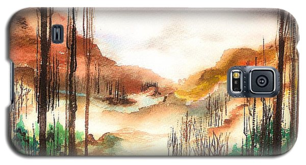 Galaxy S5 Case featuring the painting Mountain Valley by Ellen Canfield