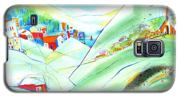 Galaxy S5 Case featuring the painting Mountain Village by Mary Armstrong