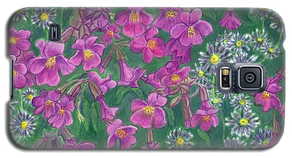 Galaxy S5 Case featuring the drawing Mountain Wild Flowers by Dawn Senior-Trask