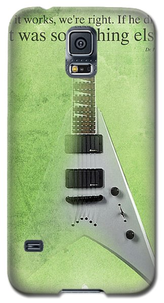Dr House Inspirational Quote And Electric Guitar Green Vintage Poster For Musicians And Trekkers Galaxy S5 Case by Pablo Franchi